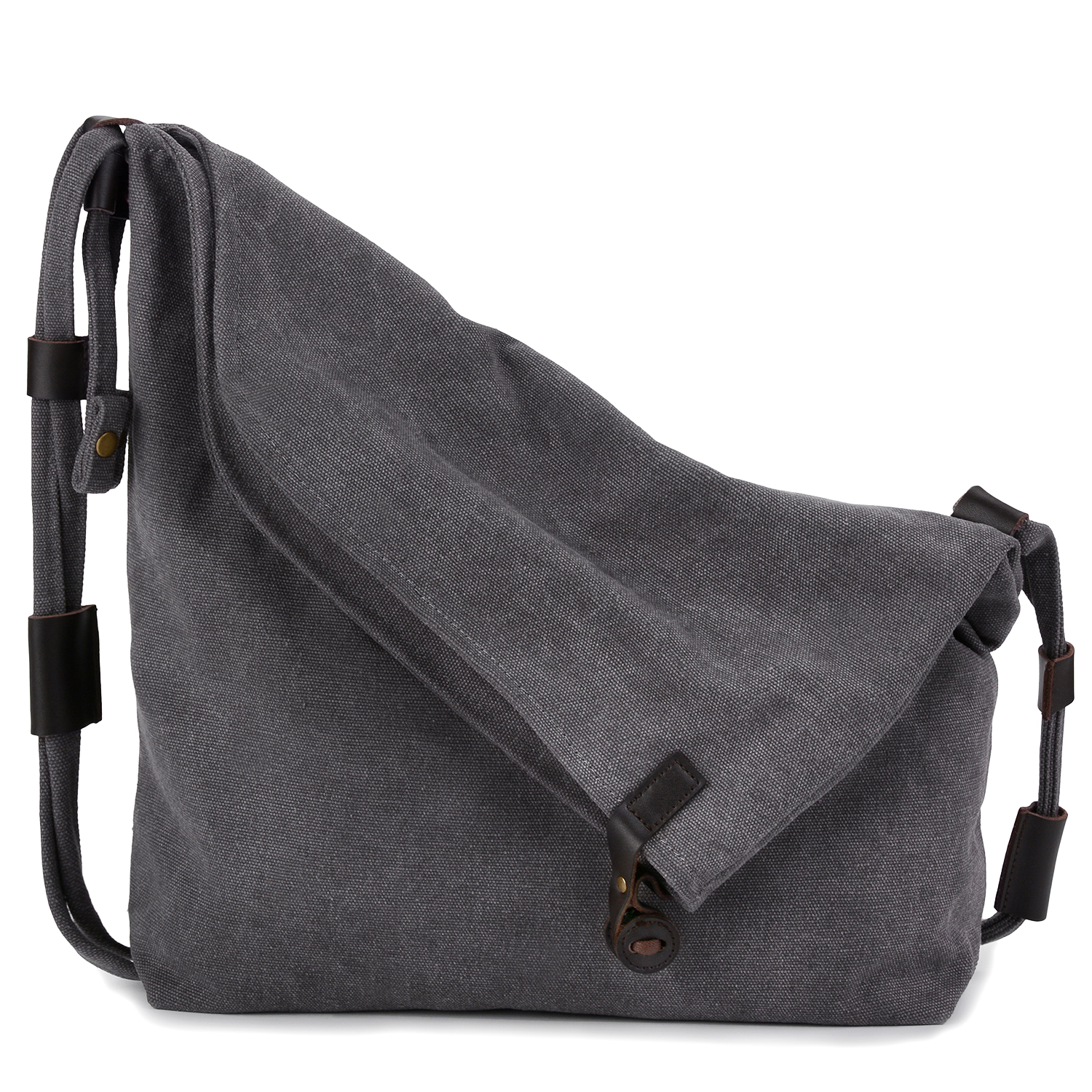 Coofit Preppy Canvas Unisex Retro Messenger Bag  (Dark Gray)