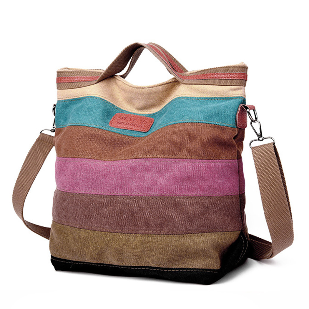 Womens Bucket Bag Fashion Mix Color Stripe Top Handle Bag Crossbody Shoulder Bag