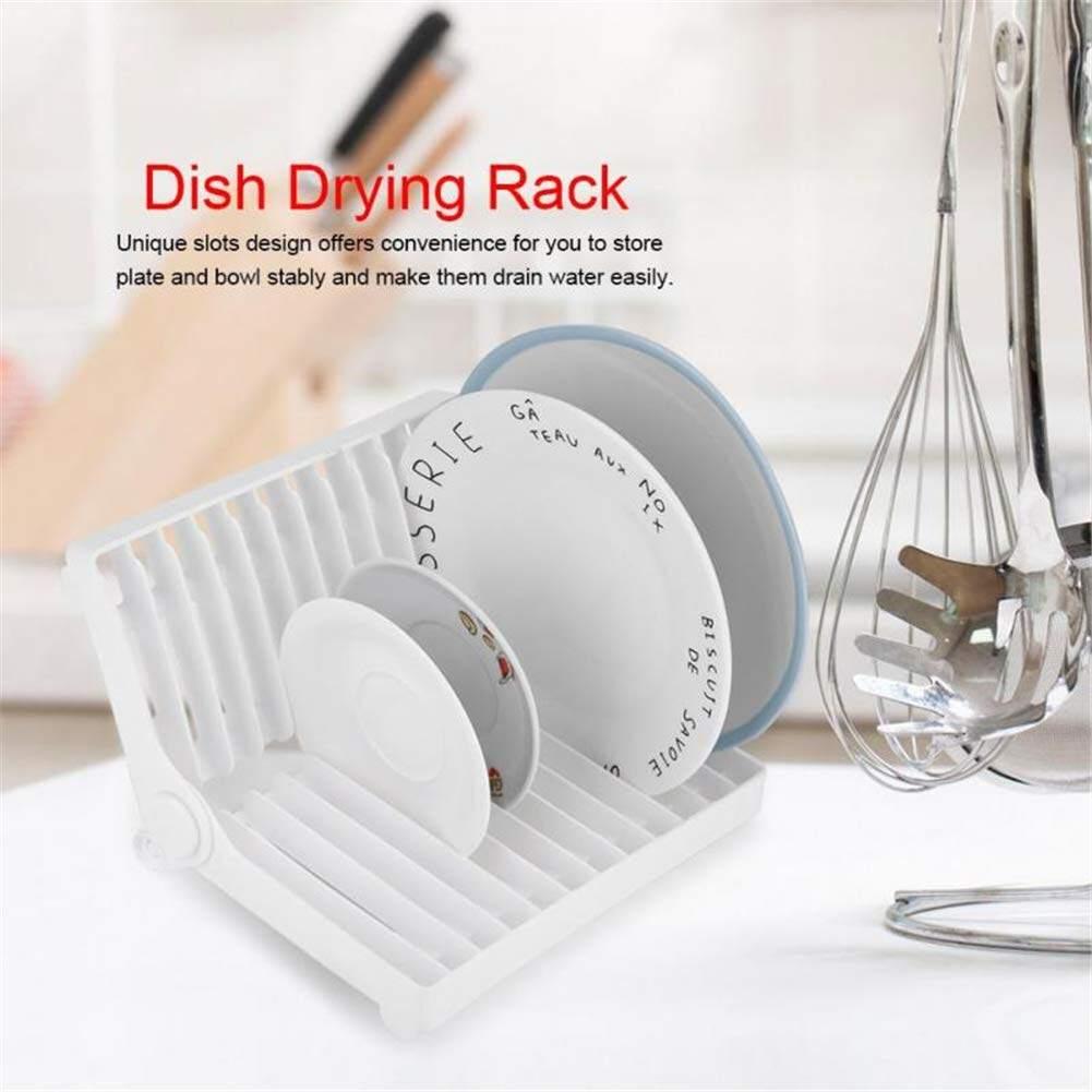 Foldable Dish Plate Drying Rack Organizer Drainer Storage Holder Kitchen KV