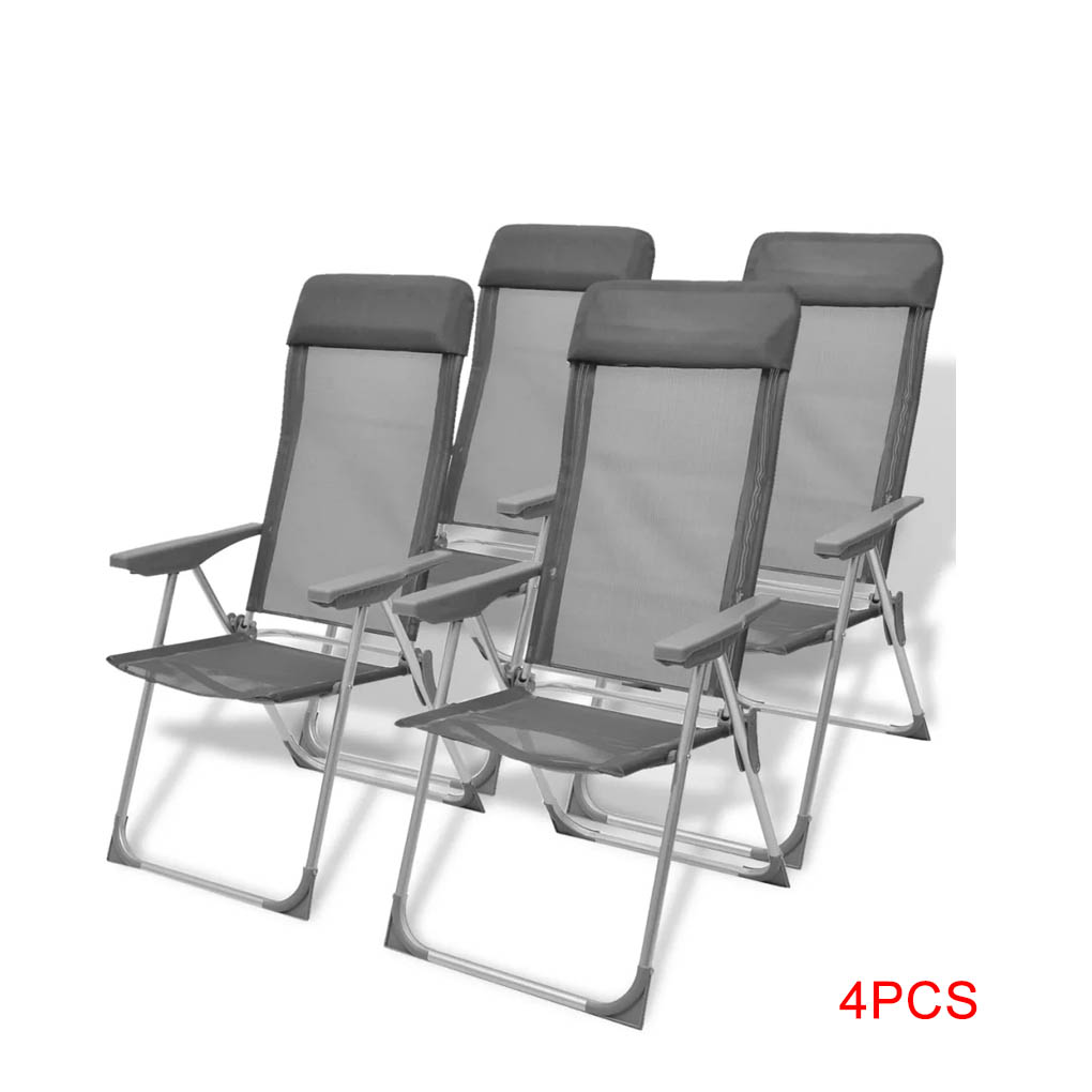 Details about 4pcs Aluminum Camping Chairs Adjustable Folding Outdoor Deck Garden Lounge Chair