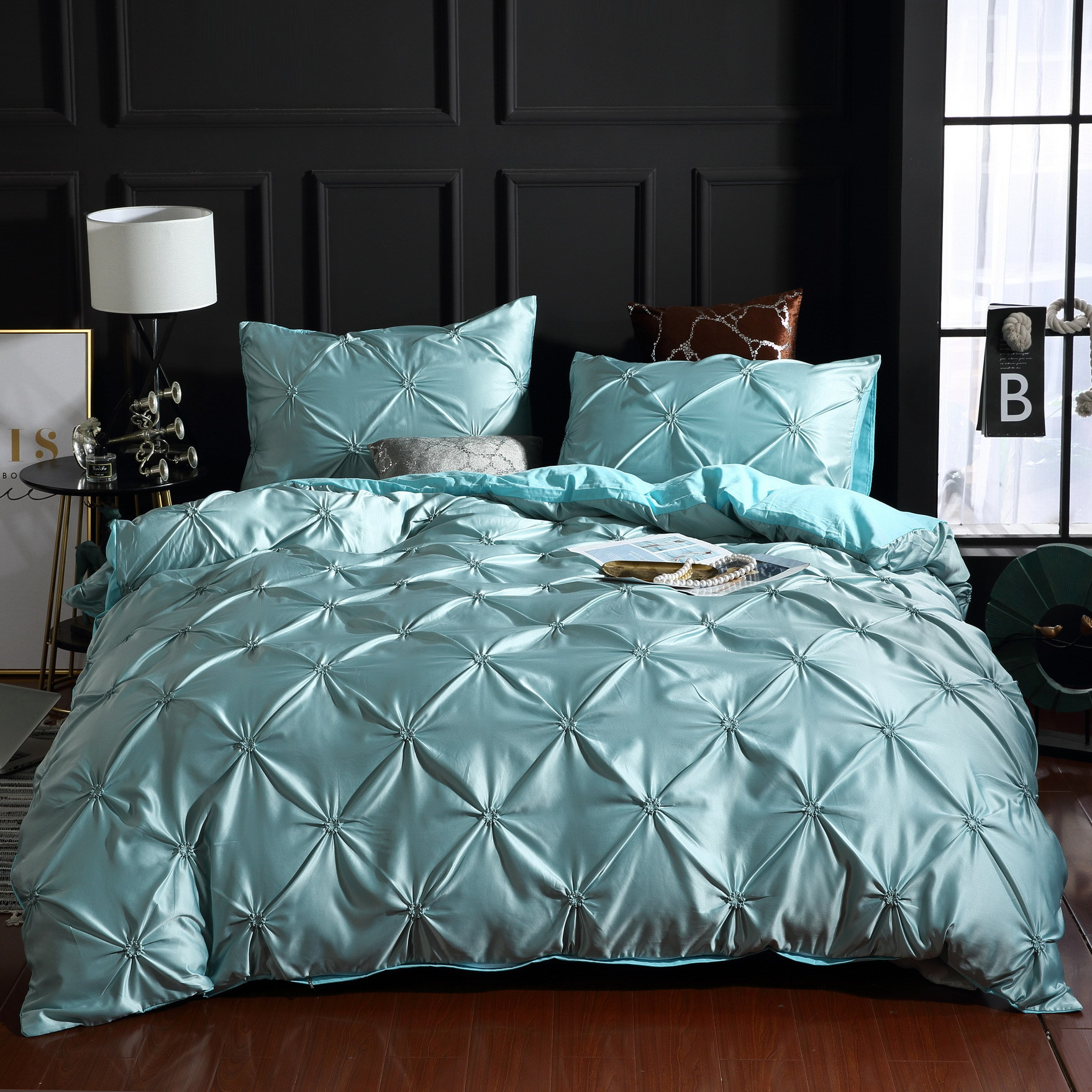 Pintuck Rapport Duvet Cover Luxury Pin Pleat Bedding Quilt Sets Queen Full King